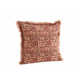 Housse de coussin coton imprimée à franges - Madam Stoltz