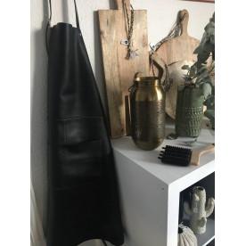 tablier en cuir noir