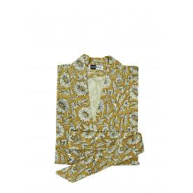 Kimono imprimé fleuri coton ocre