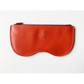 Étui à lunettes orange en cuir de vachette