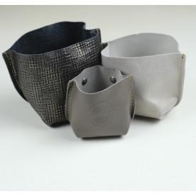 Vide poches gris en cuir up cyclé made in Tarn