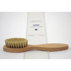 Brosse applicateur de cirage en bois verni et soie blanche