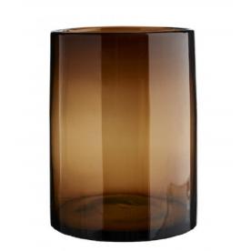 Vase cylindrique en verre brun Madam Stoltz