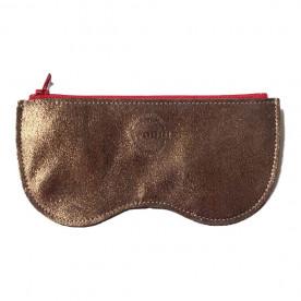 Étui à lunettes marron doré en cuir de vachette