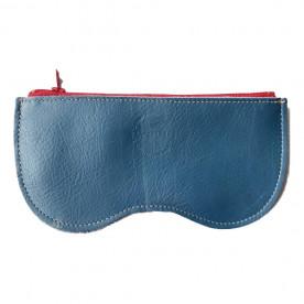 Étui à lunettes bleu en cuir de vachette